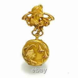 Femmes Art Nouveau Or Revers Montre Avec Broche 18K Or CA1909