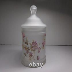 Flacon récipient verre opalin opaque vintage art nouveau fleur déco maison N7033