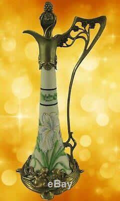 Fleurs Vase Style Art Nouveau Porcelaine Laiton Vintage Esthétique Noble Cadeau