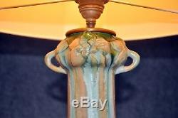 Floral Art Nouveau Céramique Lampe de Table Überlaufglasur Design Vintage