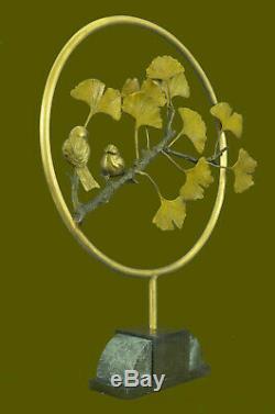 Français Vintage Bronze & Marbre Amour Oiseaux Statue Figurine Art Déco Limitée