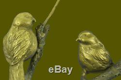 Français Vintage Bronze & Marbre Love Oiseaux Statue Figurine Art Déco Limitée