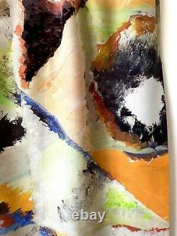 GRAND FOULARD Carré SOIE SILK motif abstrait ART multicolore état NEUF Hui-Hui