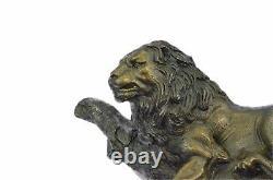 Géant Vintage Armor Bronze Lion Chat Art Sculpture Statue Nappe Bureau Pompeia