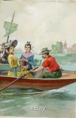 Gouache Vintage Drawing Dessin Ancien Figures on a Boat, Barque