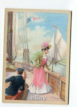 Gouache Vintage Drawing Dessin Ancien Woman, Boat, Dress, Sea, Impresionist