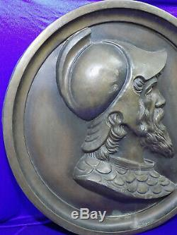 Grand Art Nouveau Reliefplatte Déité Mars Profildarstellung Rundrelief Vintage