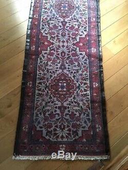 Grand Tapis de galerie en laine tissé main. 320 X 80 cm. Vintage
