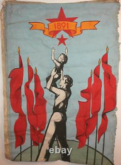 Grand Vintage Art Communiste Propagande Affiche Portrait Peinture À L'huile