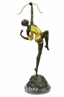 Grand Vintage Sculpture Français Le Faguays Bronze Statue Déesse Diana Art
