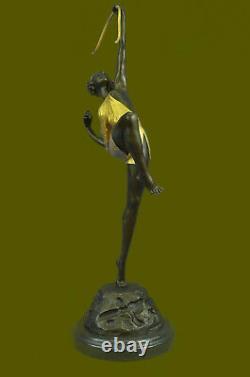 Grand Vintage Sculpture Français Le Faguays Bronze Statue Déesse Diana Solde Art