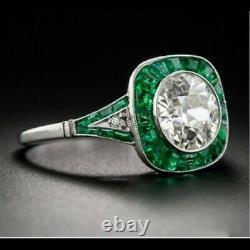 Halloween Art Déco Ancien Vintage Style 3CT Diamant Et Émeraude 925 Bague Argent