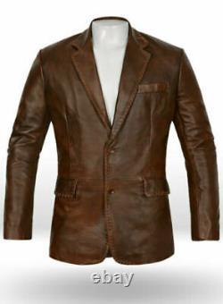 Homme Véritable Cuir D'Agneau Blazer Deux Bouton Délavé Marron Antique Manteau