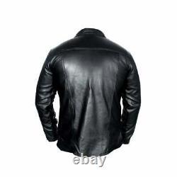 Hommes Cuir Véritable Chemise Manches Longues Soirée Vêtement Club Vintage J