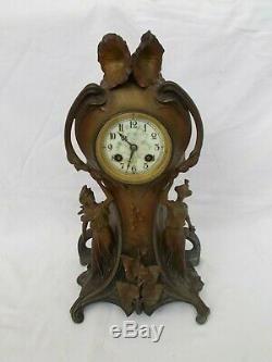 Horloge Pendule Cartel Art Nouveau A Oudet French Antique Regule Clock Vintage