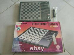 Jeu de dames électronique SAITEK Vintage 1989 échecs Electronic 12 MHz NEUF