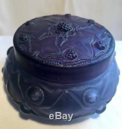 Julien Viard Paradis Boite A Poudre Verre Art Nouveau Vintage Glass Powder Box