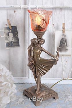 Lampe Arte Deco Style Danseuse Lampe de Table en Verre Vintage