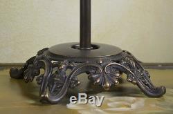 Lampe De Chevet Bureau Verre Pampilles Art Deco Vintage Laiton Vieilli