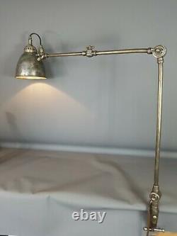 Lampe articulée d'atelier à 3 bras & fixation de table, vintage