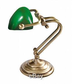 Lampe de Table Banquier Bronze Antique Verre Vert Echt-Messing Vintage Bureau
