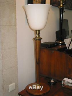 Lampe de bureau MAZDA art déco vintage NOYER et LAITON en parfait état 80 cm +/