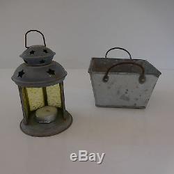 Lanterne + jardinière métal zinc vintage XXe art-déco art nouveau