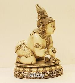 Lord Krishna Statue Beau Vintage Décoratifs Fin Sculpté Fait à la Main Résine D
