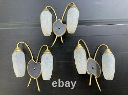 Lot de 3 Appliques double Palette noire laiton verre Vintage 50s arlus lunel