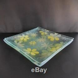 Lot de 3 assiettes carrées en verre vintage art nouveau France
