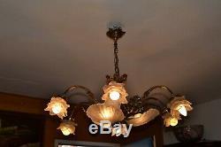 Lustre Murano, Pâte de Verre, Coquilles, Style Art Nouveau, Vintage, Bronze