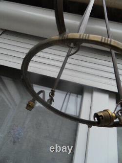 Lustre lampe lamp vintage monture bronze art nouveau Degué Muller Noverdy Daum