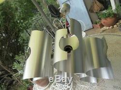 Lustre plafonnier vintage space années 70 Art nouveau en acier brossé de 6 tbs