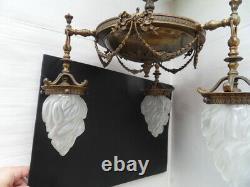 Lustre suspension lampe lamp bronze vintage art nouveau napoleon tulipe flamme