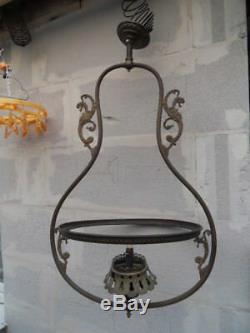 Lustre suspension lampe lamp vintage gaz art nouveau Napoleon griffon chimeres