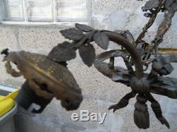 Lustre suspension lampe lamp vintage monture bronze art nouveau Napoleon