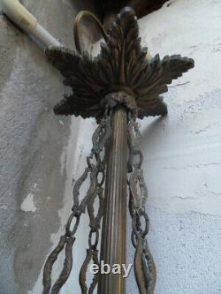Lustre suspension pendeloques lampe lamp vintage art nouveau Hector Guimard