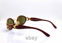 Made IN Italy Lunettes de Soleil Femme Ovale Chat Or Rouge Luxe Mode Cygne 90