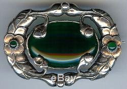 Magnifique Art Nouveau Jensen Style Vintage Sterling & Chrysoprase Floral