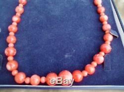 Magnifique Collier Vintage Corail authentique Art Déco geniun
