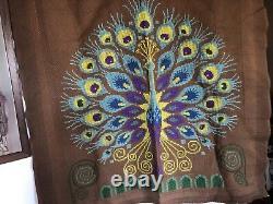Magnifique Tapisserie canevas oiseau Paon fait main vintage an 60/70 9994 cm