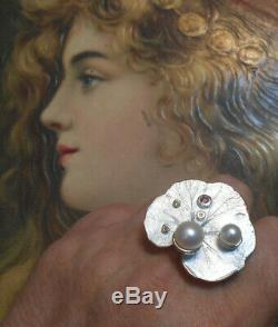 Magnifique bague ancienne Art Nouveau vintage argent perle améthyste citrine