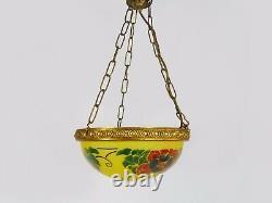 Magnifique suspension vintage vasque Art Nouveau 1 Feu, en pâte de verre jaune