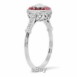Main Diamant Cabochon Rubis Platine Vintage Finition Antique Art Déco Bague