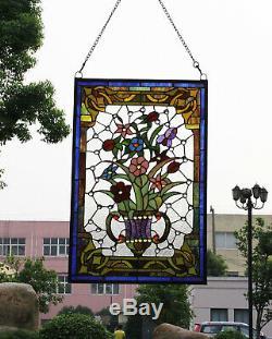 Makenier Style Tiffany effet vitrail Art vintage fleur décorative vase en