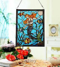 Makenier Vintage en verre style Tiffany effet vitrail Art Sirène fenêtre