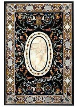 Marbre Gazon Table Haut Élégant Motif Incrustation Pierre Dîner De Art Vintage