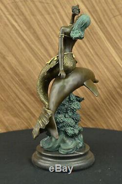 Métal Bronze Sirène Dauphin Statue Vintage Art Déco Nu Nouveau Figurine Art