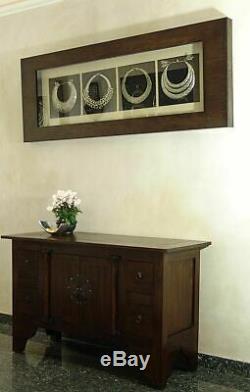Meuble Tele TV Buffet Commode 4 Tiroirs Bois Acajou Style Exotique Vintage Art