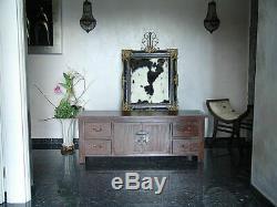 Meuble Tele TV Buffet Commode Tiroirs Bois Acajou Style Exotique Vintage Art